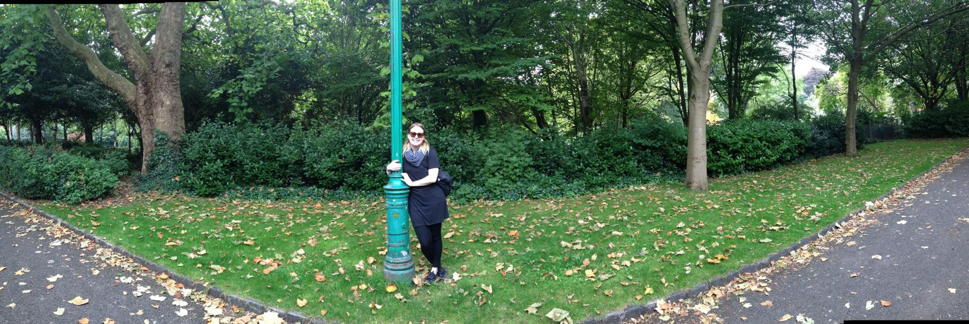 A picture of me in Merrion Park, Dublin. It's a nice picture and all, but note the black lines on the top and bottom, proving that Boyfriend isn't as good at taking panoramic pictures as I am.