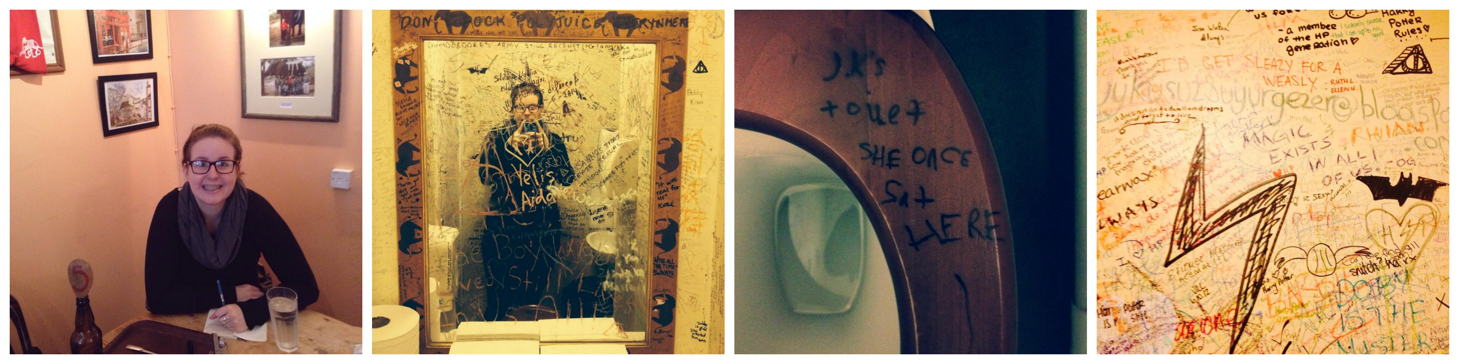 Here I am being a pretentious writer at the Elephant House Cafe and then here is the female bathroom.