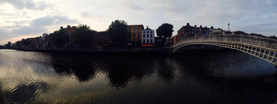 "My first successful ""pano"" shot: the River Liffey in Dublin."