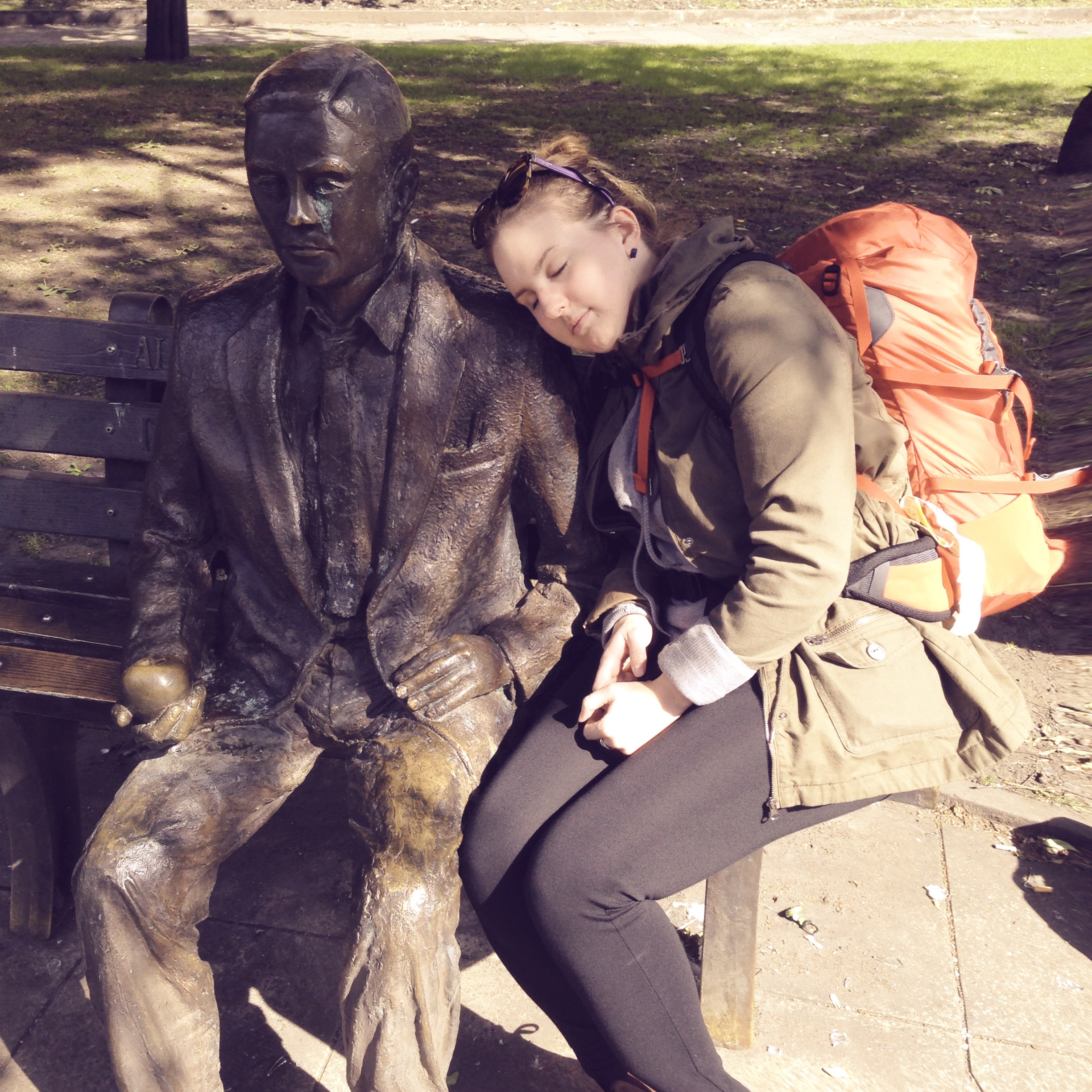 Taking a nap on Alan Turing's shoulder.