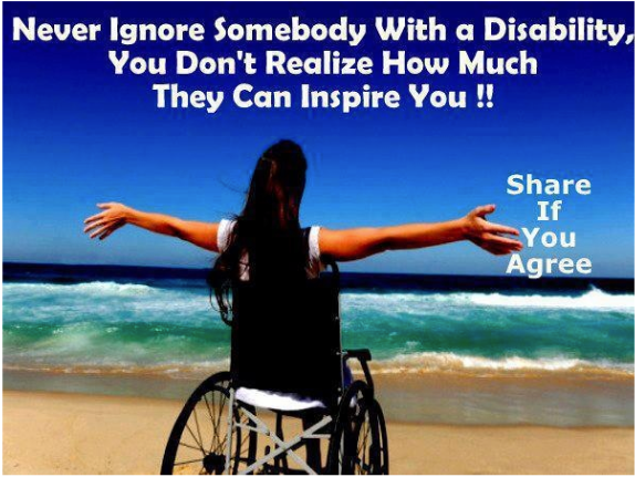 Apparently being in a wheelchair on a beach while facing the ocean is extremely inspirational.
